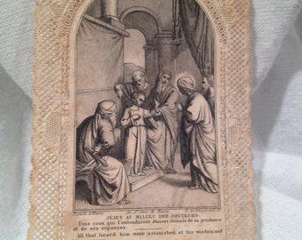 Antique Lace Canivet Holy Card 1861 French Dévotes Dentelles