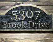 Brass Address Sign Custom Carved Antique Brass Finished  Large Wood Plaque