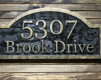 Wood Address Plaque Custom Carved Antique Brass Finished  Large Wood Plaque