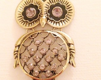 Bedazzled big owl necklace