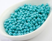 3mm Turquoise Pearl Beads (150) Czech Small Glass Thin Pressed Round Druk Opaque Spacers Blue Bright last