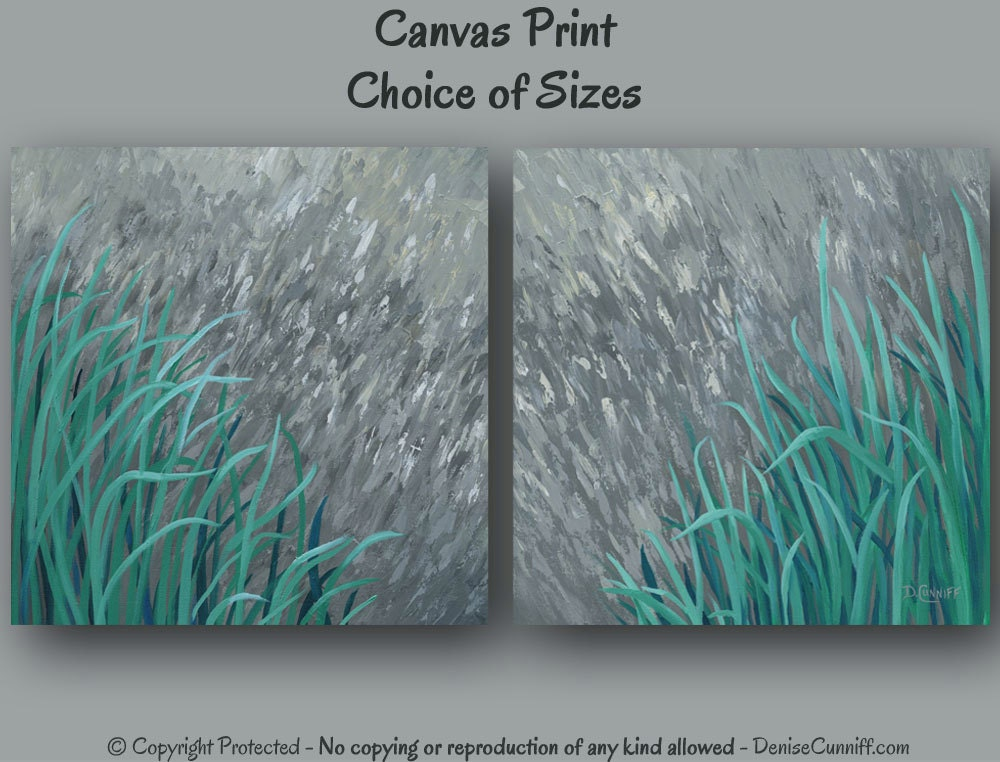 Large wall art teal and gray home decor abstract by for Teal wall art