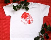 Vintage Christmas T Shirt Design - Gingerbread House T Shirt for Kids