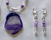 Purple Druzy Pendant Necklace, Amethyst Gemstone & Crystal with Lavender Jade, White Quartz, and Silver Plated beads. Drop Earrings.
