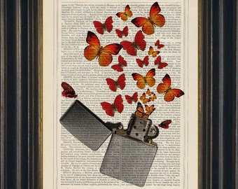 Bright Red Orange Butterflies with Zippo Lighter  Print on repurposed 1880's vintage page mixed media home and living