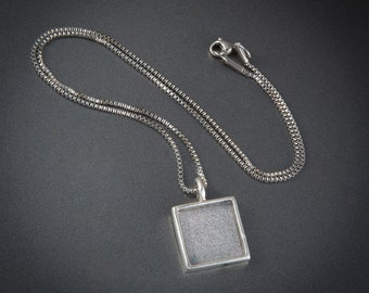 Digits of Pi Pendant Necklace - 18 Inch 1.5mm Stainless Steel Box Chain - Inset Silver Plated Pendant - With Loupe