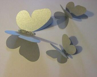 3D butterflies, wall butterflies, assorted butterfly silhouettes(Silver with glitter)