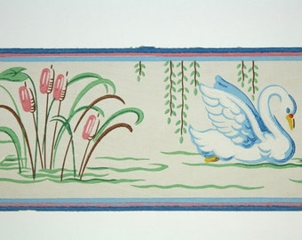 full vintage wallpaper border trimz pink and blue water, Home decor