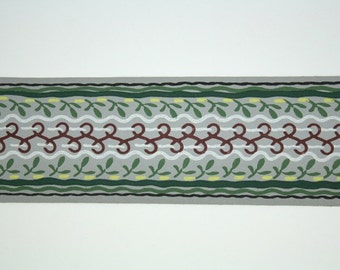 Full Vintage Wallpaper Border - TRIMZ -  Gray Green and Brown Cool Stripe Design - 3 inch