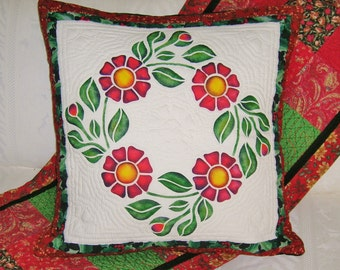 Stencilled Rose Wreath Pillow Cover