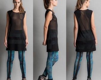 Transparent dress with stripes