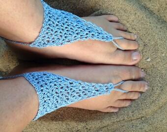 Sandals, Barefoot Sandals, Womens Light Blue Crochet Barefoot Sandals Style 6