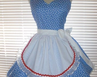 French Maid Apron Pin-up Retro Style French Blue and White Inspired by Lucy Flirty Skirt Sweetheart Neckline