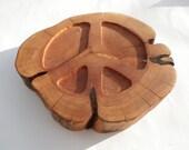 Peace sign southwest rustic tree slice  table decoration hot pad trivet centerpiece
