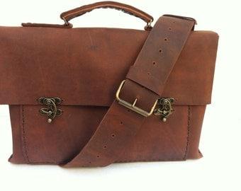 Leather Messenger Work Bag ,Genuine Leather Messenger Bag,Satchel Messenger Cross Body bag For Men Women Satchel Purse