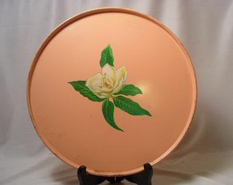 Vintage Pink Metal Plate or Cake Plate