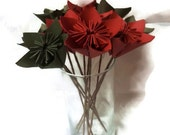 """SET of 12 with Free Domestic U.S. Ship - Bouquet OOAK """"Red and Green"""" Origami Paper Flowers"""
