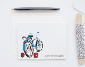 Thank You Card - Thanks for the Support - Retro Blue Bike with Red Training Wheels