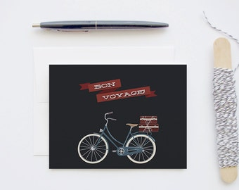 Bon Voyage - Manly Blank Greeting Card with Vintage Bike and Luggage for Him