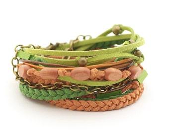 Green Brown Wrap Bracelet, Brown Green Boho bracelet, Gypsy Bracelet, double wrap, boho chic, gift for her, wooden beads