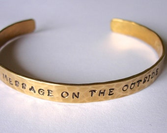 Create Your Own Custom Hand Stamped and Hammered Bracelet   Available in Brass, Copper, Nickel Silver, Sterling Silver