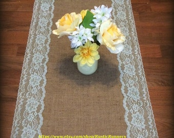 Barn or Country Rustic Charm Burlap and Lace Table Runner Mint Green Lace Spring Rustic Barn Wedding Table Runner Shabby Chic Bridal shower