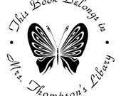 Library stamp,book stamp,This book belongs to stamp,SELF INKING custom stamp,personalized stamp,butterfly,R88