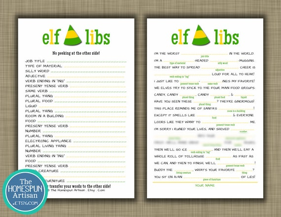 Free Christmas Printables With Favorite Movie Quotes: Items Similar To ELF Christmas Mad Libs
