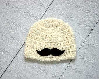 Baby boy hat, little man outfit, mustache beanie, newborn boy hat, newborn boy photo prop, baby boy clothes, boy coming home outfit