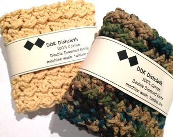 Dishcloths or Washcloths, set of 2, Fruit and Veggie, 100% cotton by DDK crochet