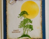 Handmade, Stamped  and Watercolored Birthday Card