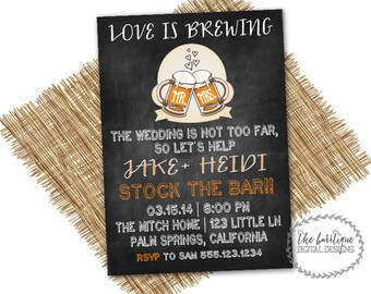 STOCK THE BAR Invitation | Love Is Brewing | Couples Wedding Shower | Beer Shower | Wedding Stock The Bar Party-Digital Printable Invitation