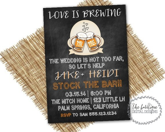 Couples Wedding Shower Gift Ideas: STOCK THE BAR Invitation Love Is Brewing Couples Wedding