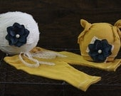Newborn set, Baby girl set, Photo prop,Photography prop,3 Pieces newborn set,Mustard and navy blue set
