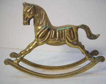 Vintage Small Brass Rocking Horse