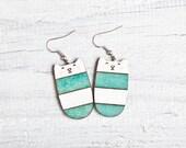 Wood cat earrings, Nickel free dangling jewellery