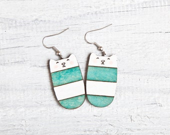 Wood Cat Earrings Cute Dangle Earrings Turquoise Long Earrings Mint Earrings Striped Cat Nickel free dangling jewellery Valentine's Day Gift