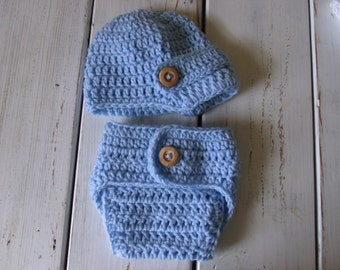 Crochet Baby Boy Newsboy hat and Diaper Cover Light Blue- Newborn & 0-3 months