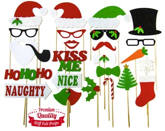 25 Christmas Photo Booth Props - Holiday Photo Booth Featuring Santa Clause Frosty Snowman Naughty Nice Style Props - Fun Party Photobooth