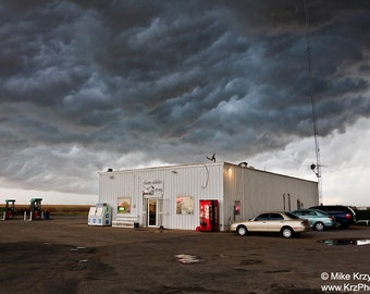 A Severe Thunderstorm Hovers Over a Convenience Store in Oklahoma