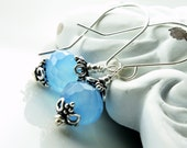 Blue chalcedony earrings with sterling silver, gemstone classic earrings, handmade fine earrings, holiday gift, alira jewelry, ER2110