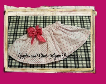 Twirl Skirt - Light Pink Polka Dot Twirl Skirt with Bow -  6 to 24 months, 2 to 6 years**