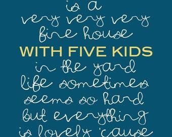 Our House Blue - 5 KIDS - Digital Download