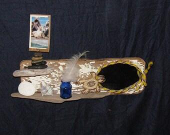"""Driftwood Shelf  with Mirror Indoor Outdoor """"Duck Camp"""""""
