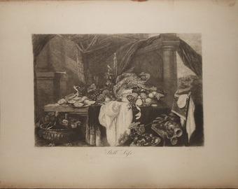 Vintage etching ca.1890s  of fruit artist cornelis de heem etcher gustave marie greux