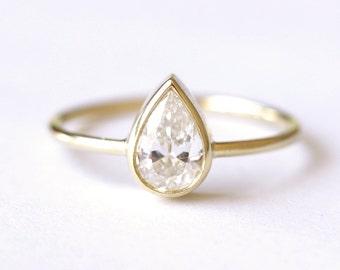 Solitaire Pear Diamond Engagement Ring - 0.5 Carat Pear Diamond - 18k Gold