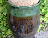 Green and tan vase, ceramic vase, utensil holder, large jar, cork jar, coin jar, stash jar, herb jar, jar, ceramic, pottery