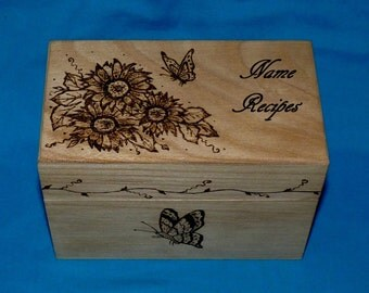 Custom Recipe Box Wood Burned Wedding Recipe Card Box Personalized Engraved Sunflower Rustic Wooden Recipe Box Butterfly