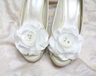 Wedding shoe clips - bridal shoe clips, white satin shoe clips, flower shoe clips