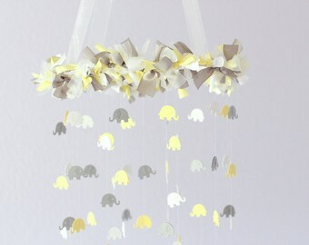 Yellow & Gray Elephant Nursery Mobile, Baby Shower Gift, Photographer Prop